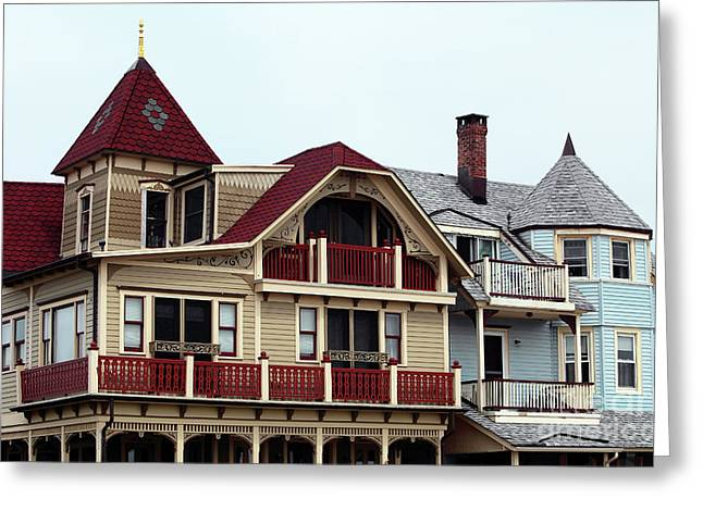 Old School House Greeting Cards - Ocean Grove Victorian Houses Greeting Card by John Rizzuto