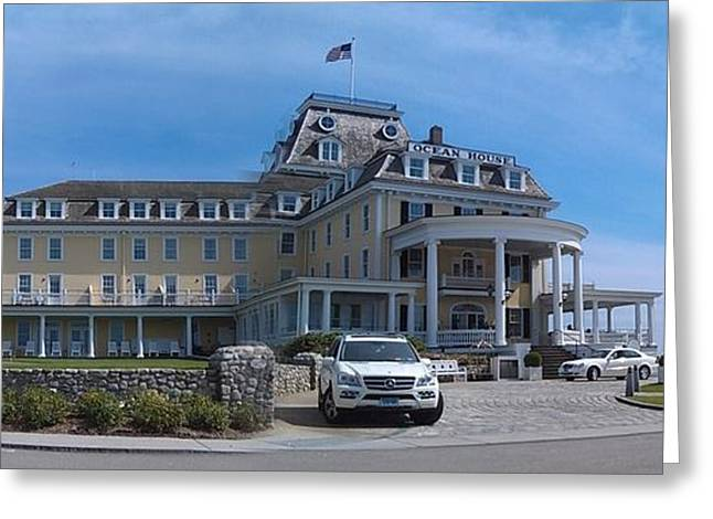 Victorian Greeting Cards - Ocean House Pano - Rhode Island Greeting Card by Anna Lisa Yoder