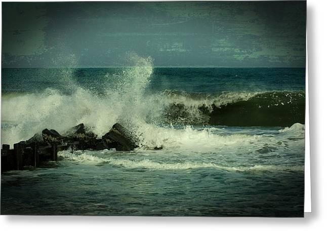 Ocean Impact - Jersey Shore Greeting Card by Angie Tirado