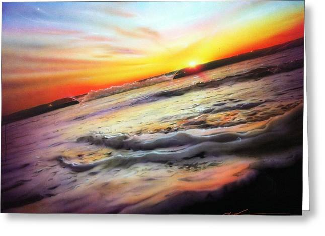 Sunset Prints Greeting Cards - Ocean Infinity Greeting Card by Christian Chapman Art