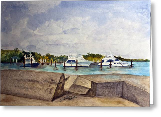 Plein Air Greeting Cards - Ocean Inlet Marina Greeting Card by Donna Walsh