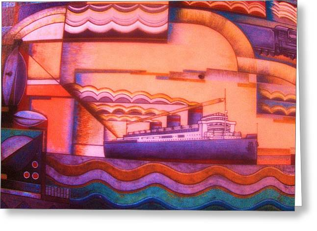 Gay Art Framed Giclee On Canvas Greeting Cards - OCEAN LINER  -  Art Deco Greeting Card by Gunter  Hortz