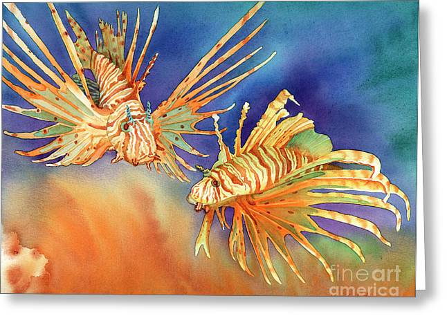 Lionfish Greeting Cards - Ocean Lions Greeting Card by Tracy L Teeter