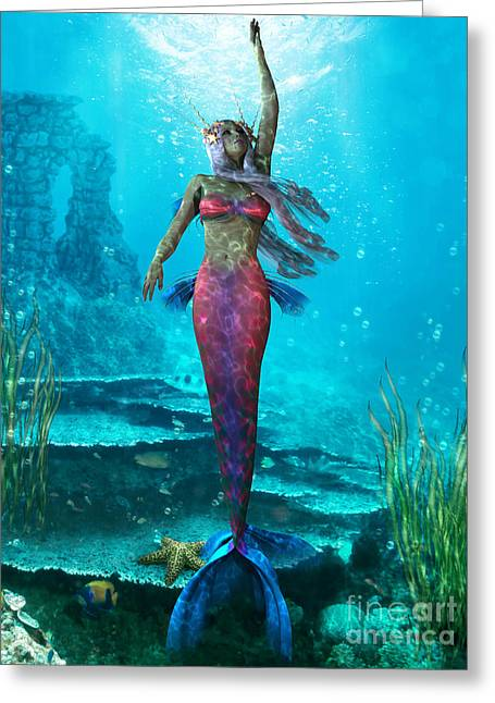 Fantasy Creatures Greeting Cards - Ocean Mermaid Greeting Card by Corey Ford
