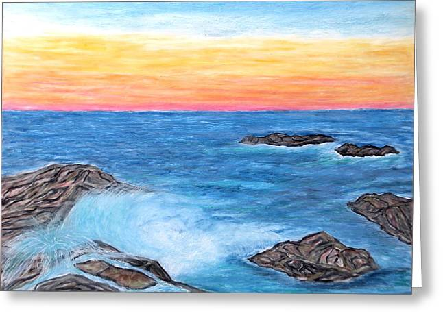 Horizon Pastels Greeting Cards - Ocean Mist Greeting Card by Daniel Dubinsky