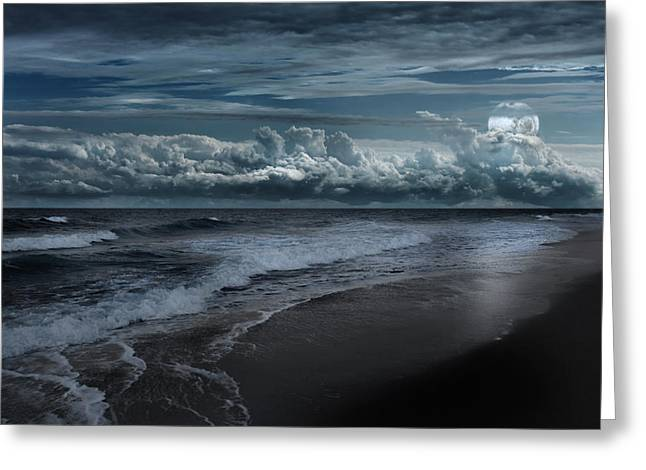 Cape Cod National Seashore Greeting Cards - Ocean Moon Greeting Card by Bill  Wakeley