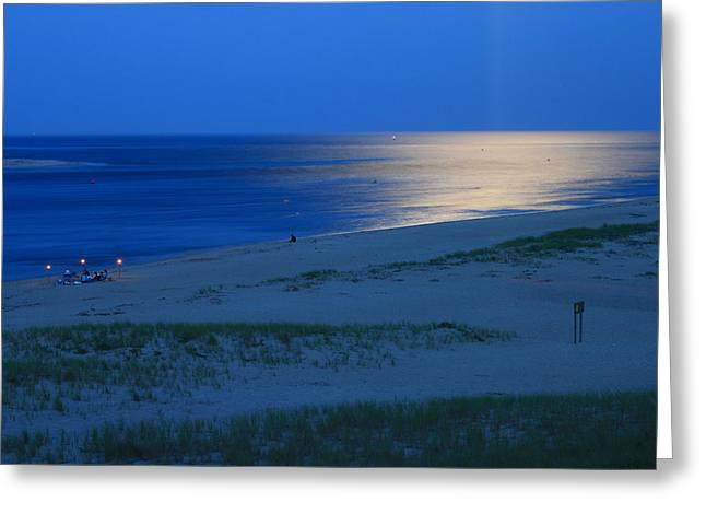 Moon Beach Photographs Greeting Cards - Moonlit Ocean Lighthouse Beach Chatham Cape Cod Greeting Card by John Burk