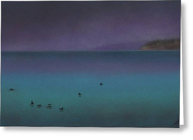 Nautical Pastels Greeting Cards - Ocean of Glass with Seabirds Greeting Card by Robin Street-Morris