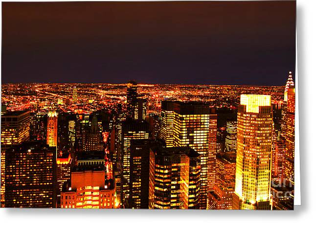 Ocean Of Light New York City Usa Greeting Card by Sabine Jacobs