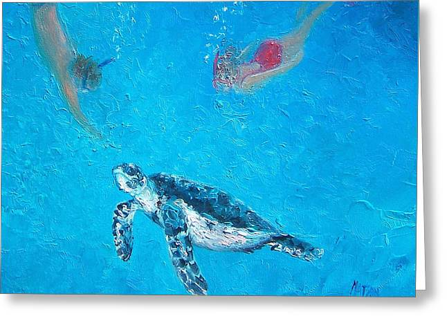 Ocean Turtle Paintings Greeting Cards - Ocean Painting - Diving with Turtle Greeting Card by Jan Matson