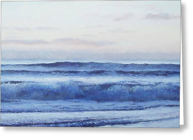 Beach Cottage Style Greeting Cards - Ocean Painting Dusk by Jan Matson Greeting Card by Jan Matson