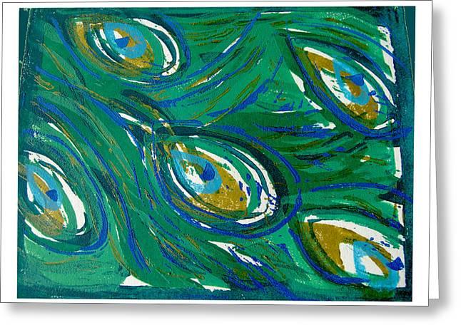 Linocut Paintings Greeting Cards - Ocean Peacock Greeting Card by Jennifer Schwab