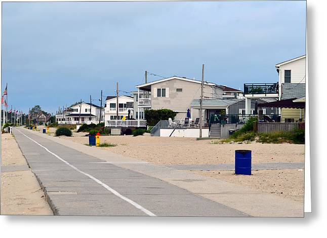 Breezy Greeting Cards - Ocean Promenade 2 Breezy Point Summer Morning 2012 Greeting Card by Maureen E Ritter