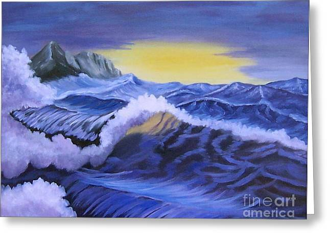 Stretched Cotton Canvas Greeting Cards - Ocean Scene Greeting Card by Ruth  Housley