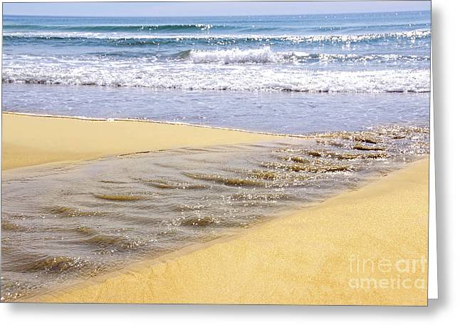 Flowing Greeting Cards - Ocean shore Greeting Card by Elena Elisseeva