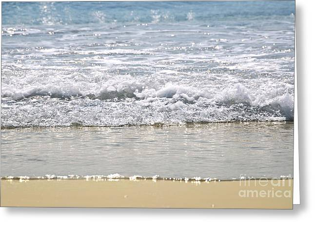 Inviting Greeting Cards - Ocean shore with sparkling waves Greeting Card by Elena Elisseeva