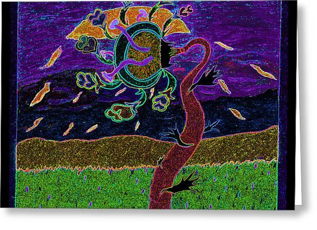 ocean side flower at sun set    v3 Greeting Card by Kenneth James