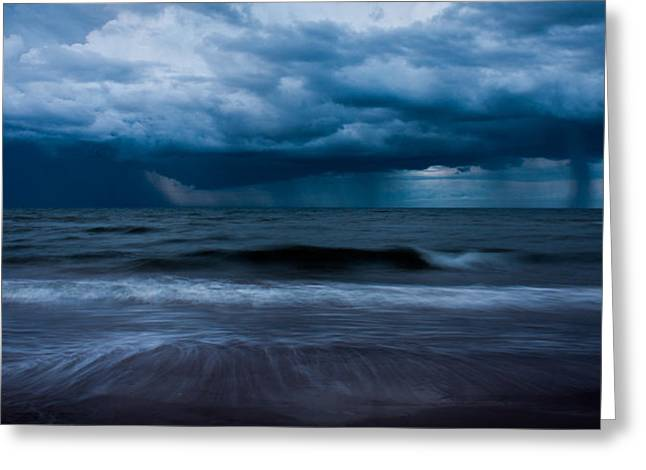 Turbulent Skies Photographs Greeting Cards - Ocean Storm Panorama Greeting Card by Matt Dobson