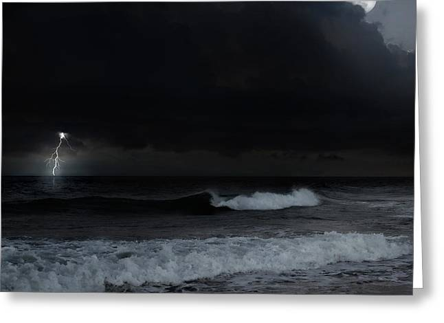 Ocean Storm Square Greeting Card by Bill  Wakeley