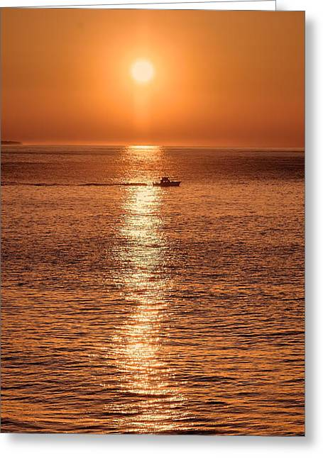 Lobster Fishermen Greeting Cards - Ocean Sunrise at Montauk Point Greeting Card by William Jobes