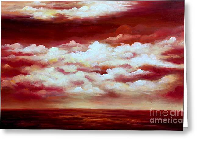 Ocean Sunset - Abstract Oil Painting Original Modern Contemporary Art House Wall Deco Greeting Card by Emma Lambert