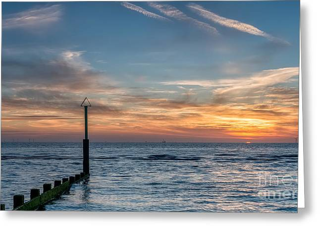 Edge Greeting Cards - Ocean Sunset Greeting Card by Adrian Evans