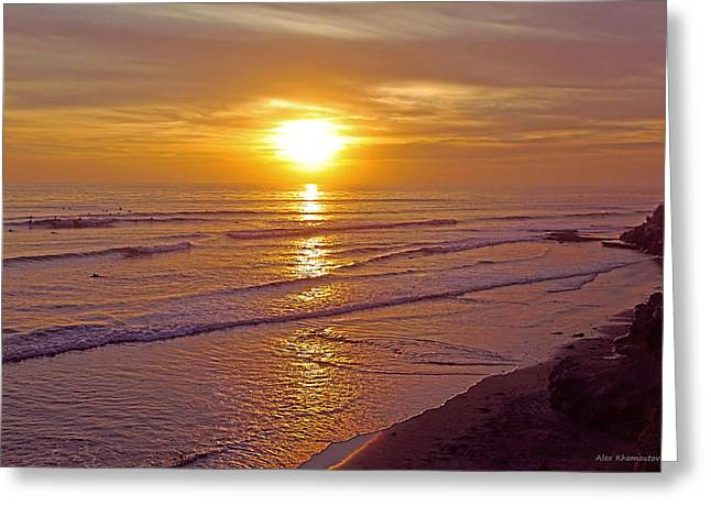 Californian Mixed Media Greeting Cards - Ocean Sunset Breeze - metaphysical healing energy art print Greeting Card by Alex Khomoutov