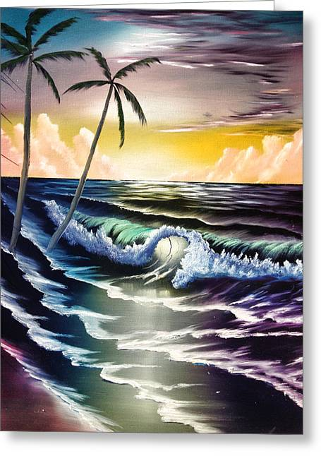Bob Ross Paintings Greeting Cards - Ocean Sunset Greeting Card by Koko Elorm