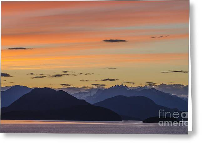 Red Greeting Cards - Ocean Sunset at British Columbia Greeting Card by Ning Mosberger-Tang