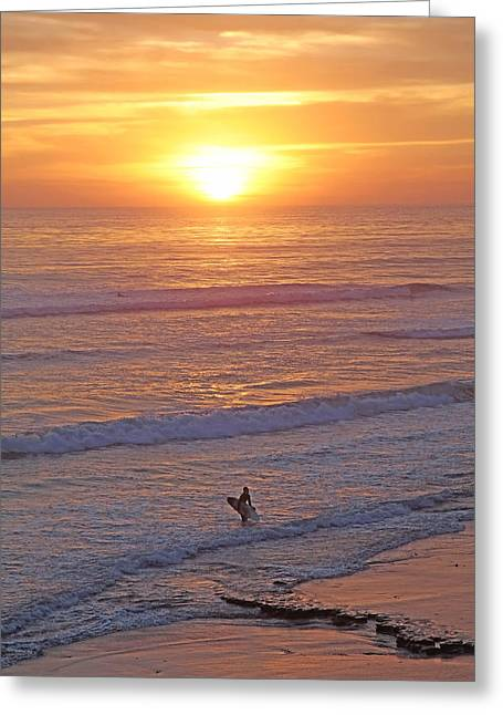 Californian Mixed Media Greeting Cards - Ocean Sunset Surf  Greeting Card by Alex Khomoutov