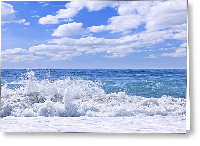 Breaking Greeting Cards - Ocean surf Greeting Card by Elena Elisseeva