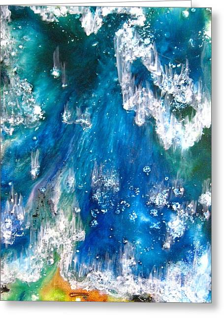 Indian Ink Mixed Media Greeting Cards - Ocean Surf Greeting Card by Jane Biven