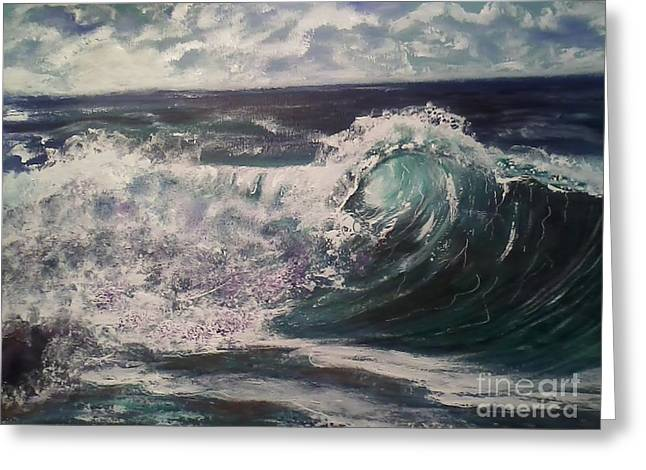 Phthalo Blue Greeting Cards - Ocean surf Greeting Card by Ordy Duker