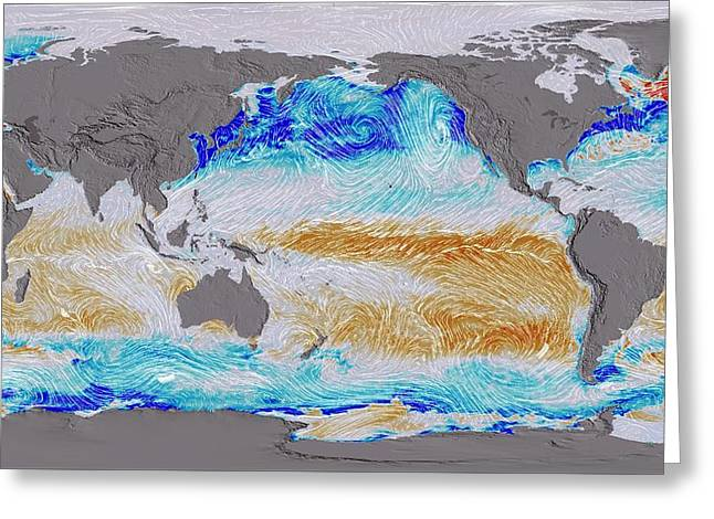 Ocean Surface Co2 And Winds Greeting Card by Nasa's Scientific Visualization Studio