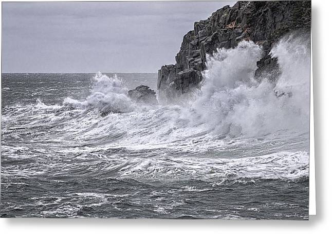 Lubec Greeting Cards - Ocean Surge at Gullivers Greeting Card by Marty Saccone