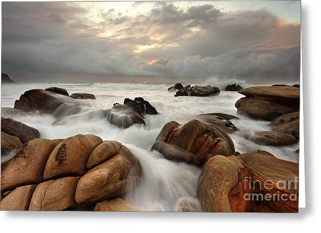 Overruns Photographs Greeting Cards - Ocean surges over weathered rocks Greeting Card by Leah-Anne Thompson