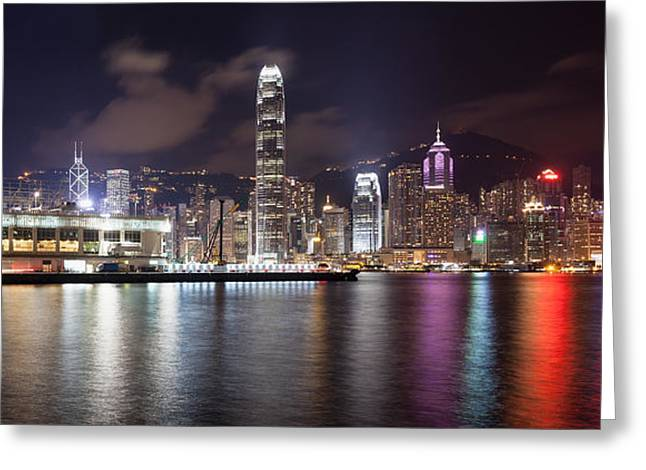 Sha Greeting Cards - Ocean Terminal with Hong Kong City Skyline Greeting Card by JPLDesigns