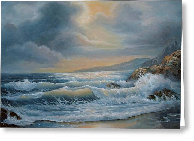 Sea With Waves Greeting Cards - Ocean under the evening glow Greeting Card by Gina Femrite