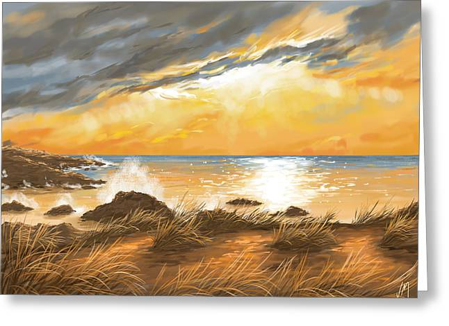 Sunset Seascape Greeting Cards - Ocean Greeting Card by Veronica Minozzi