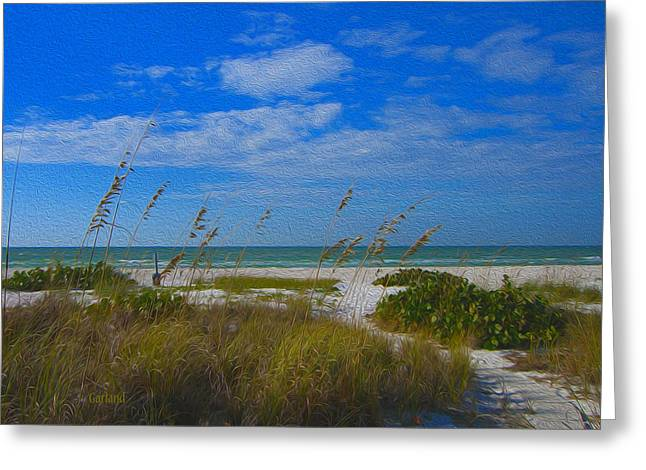 Sea Oats Mixed Media Greeting Cards - Ocean View Greeting Card by Garland Johnson