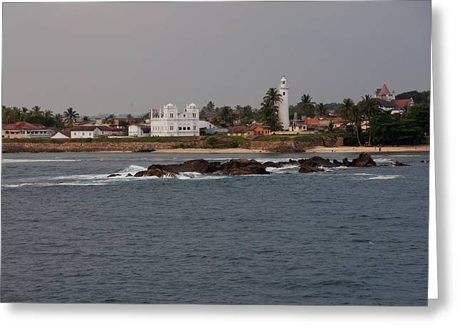 Beach Photography Greeting Cards - Ocean view of Galle with Lighthouse Greeting Card by Beth Wolff