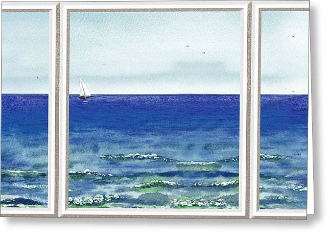 Unique View Paintings Greeting Cards - Ocean View Window Greeting Card by Irina Sztukowski