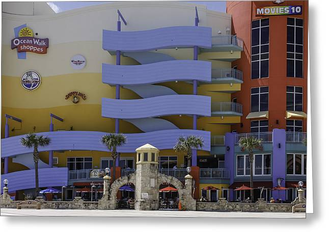 Outdoor Theater Greeting Cards - Ocean Walk Shoppes at Daytona Beach Greeting Card by Karen Stephenson