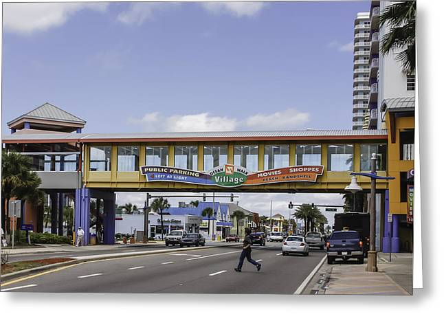 Outdoor Theater Greeting Cards - Ocean Walk Village in Daytona Beach Greeting Card by Karen Stephenson