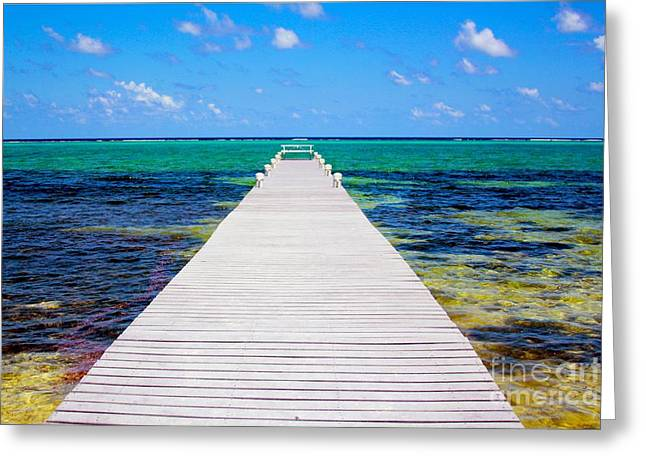 Tropical Oceans Greeting Cards - Ocean walkway Greeting Card by Carey Chen