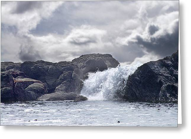 Port Renfrew Greeting Cards - Ocean Waterfall Greeting Card by George Cousins
