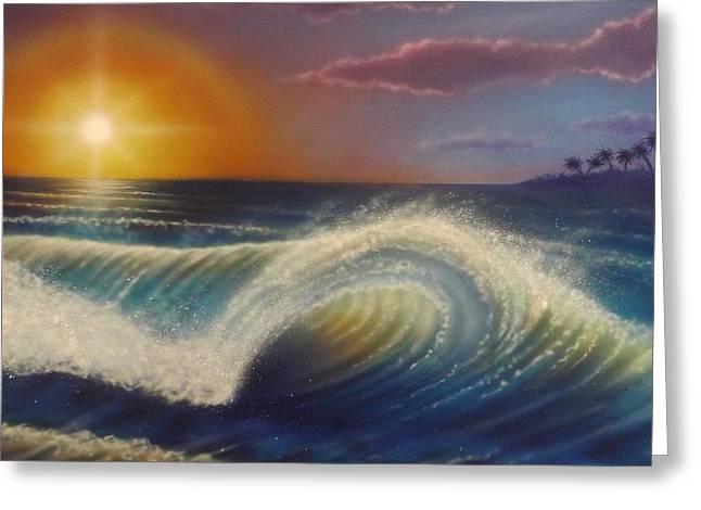Darren Greeting Cards - Ocean Wave Greeting Card by Darren Robinson