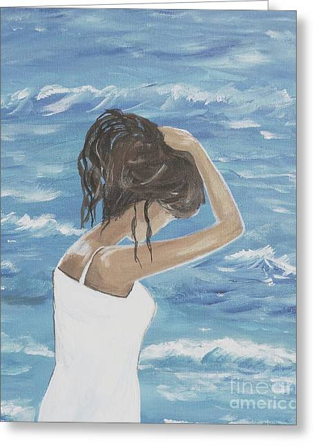 Beach Theme Abstract Greeting Cards - Ocean Wave Greeting Card by Leslie Allen