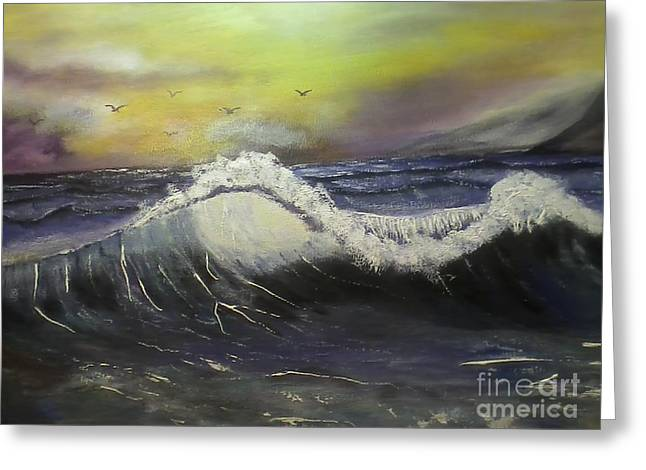 Phthalo Blue Greeting Cards - Ocean wave Greeting Card by Ordy Duker