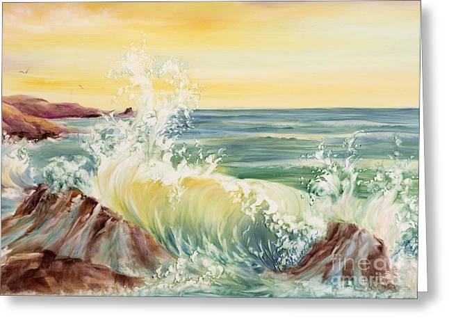 Summer Celeste Greeting Cards - Ocean Waves II Greeting Card by Summer Celeste